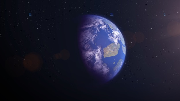 島のある太陽系外惑星のような地球