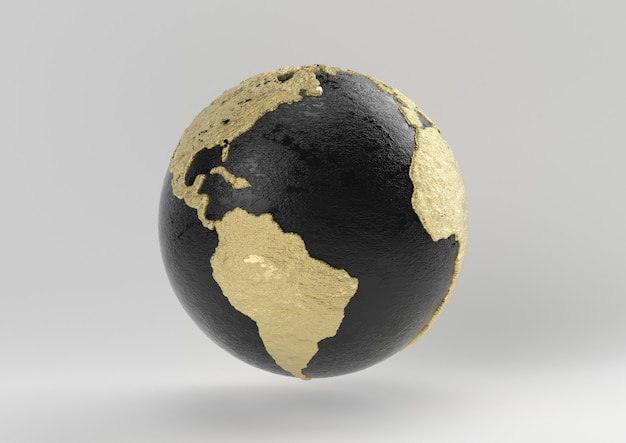 Earth luxury idea. concept black and gold with white background, 3d render.