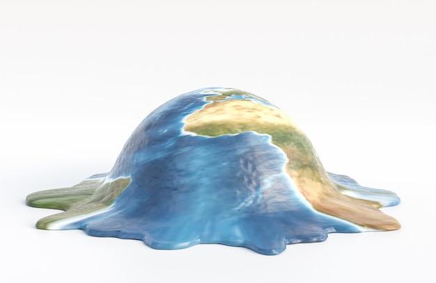 地球は白い背景で溶ける