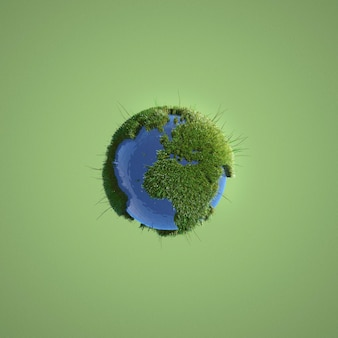Earth miniature on green background