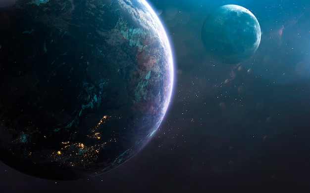 Earth and moon, awesome science fiction wallpaper, cosmic landscape.