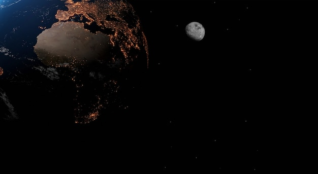 Earth at the night. my world. elements of this image furnished by nasa. 3d illustration