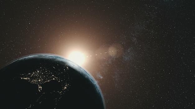 Earth orbit rotation sun beam milky way