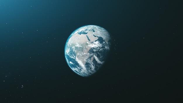 지구 궤도 줌 역방향 열린 공간 배경. 회전 행성 태양계 부드러운 태양 광선 천체 별자리 우주지도 여행 개념 3d 애니메이션
