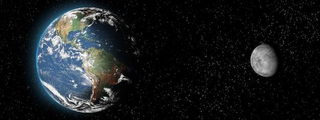 어두운 배경에 지구 행성과 달 위성. 종횡비. 태양계의 요소. 복사 공간이 있는 배너입니다.전면 보기입니다.nasa에서 제공한 이 이미지의 요소입니다.