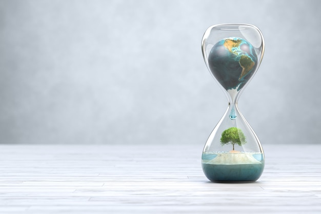 Earth planet in hourglass, global warming concept. 3d illustration