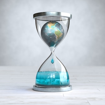 Earth planet in hourglass, global warming concept