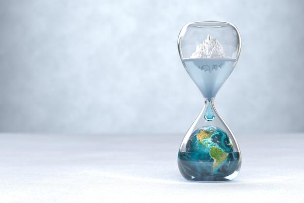 Планета земля в песочных часах концепция глобального потепления