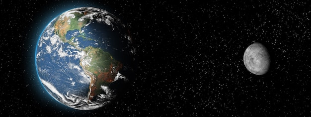Earth planet and moon satellite on dark background. aspect ratio. elements of solar system. banner with copy space.front view.elements of this image furnished by nasa.