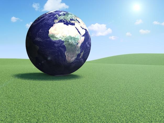 Планета земля на красивом пейзаже с облаками и солнцем