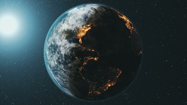 Earth planet orbit rotating at bright sun in dark outer space