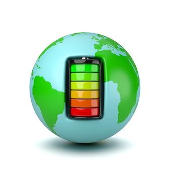 Планета земля, работающая от электрической батареи
