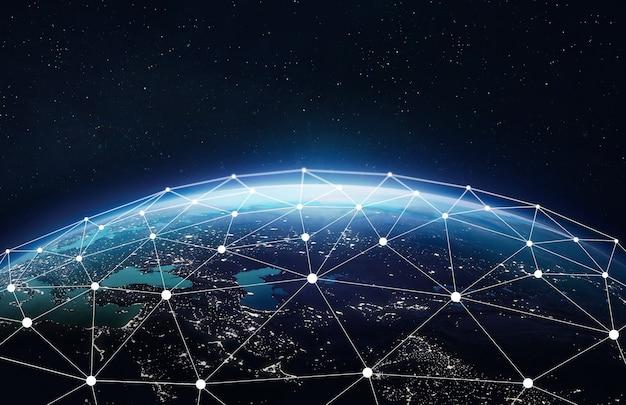 Nasaによって提供されたこの画像の通信ウェブネットワークと接続要素を備えた地球惑星