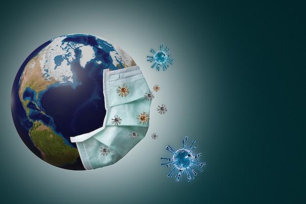 지구는 코로나 바이러스 감염, covid 19 독감 발병 2020 개념을 방지하기 위해 마스크를 넣었습니다.