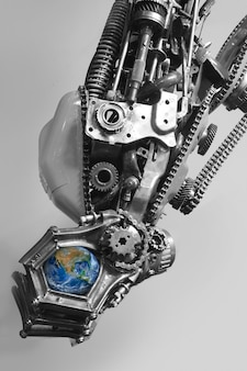 The earth in robot hand