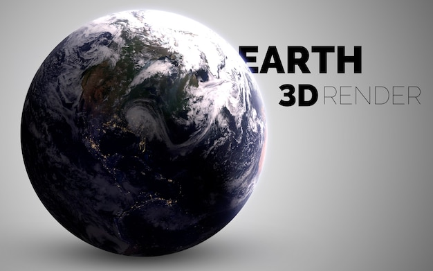 Earth. set of solar system planets rendered in 3d. elements of this image furnished by nasa