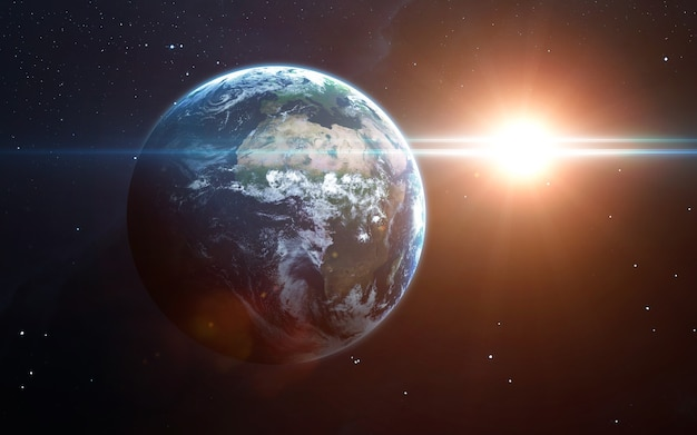 Earth in the space, 3d illustration. .