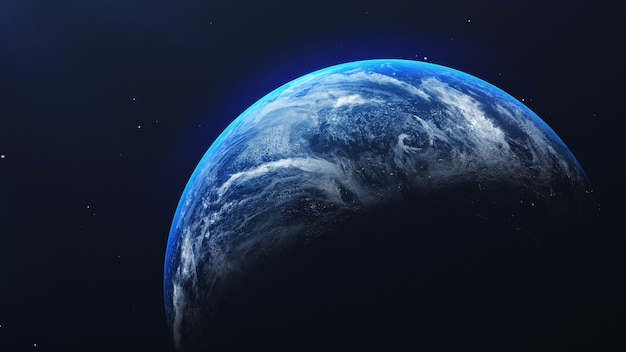 Earth in space view with shining sunrise in universe and galaxy background. nature  and world environment concept