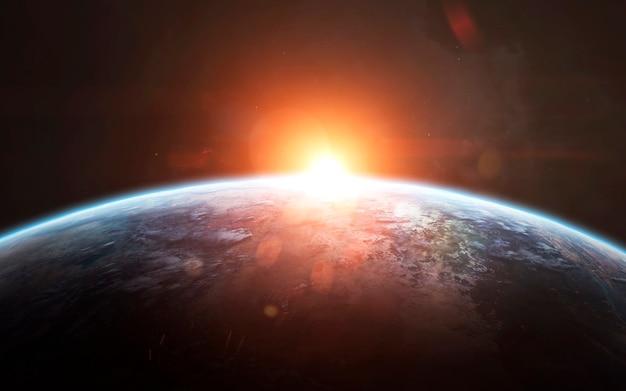 地球の日の出、素晴らしい空想科学小説の壁紙、宇宙の風景。 nasaによって提供されたこの画像の要素