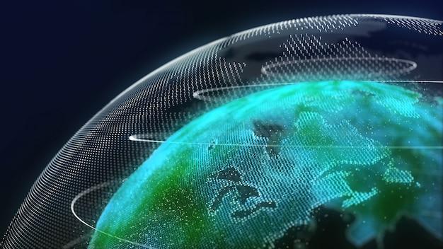 Earth technology hologram color green