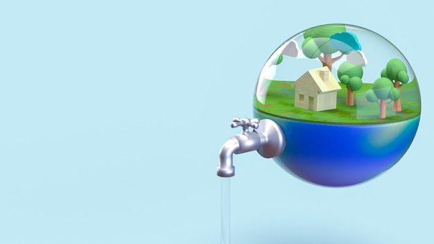 The earth in water drop for world water day or ecology concept 3d rendering.