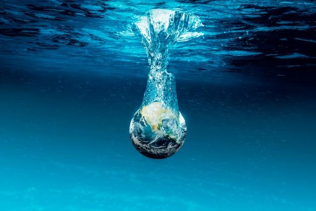 Земля ушла под воду океана. элементы этого изображения предоставлены наса