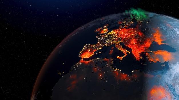 宇宙の回転昼から夜のスカイラインまでの地球の山火事の眺め。