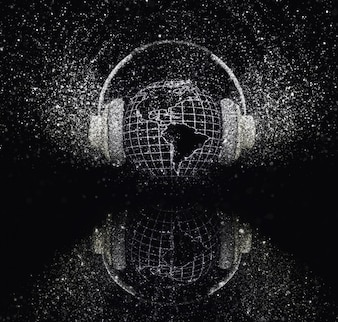 Earth with headphones with glittery effect on black background