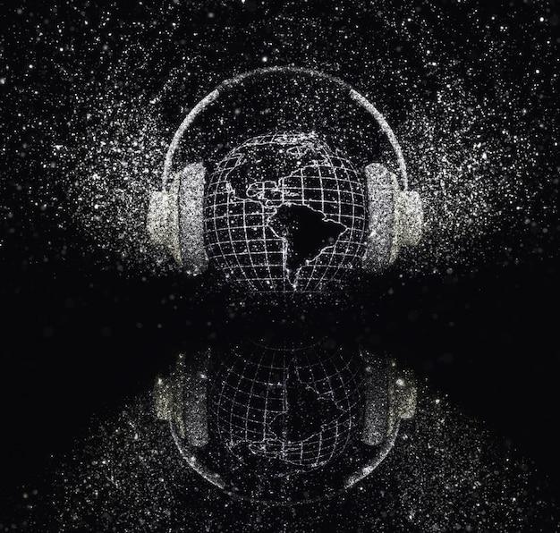 3d визуализации земного шара с наушниками с сверкающим эффектом на черном фоне