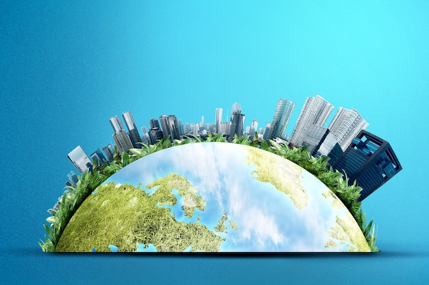 Earth with modern buildings and skyscrapers above it. environment concept