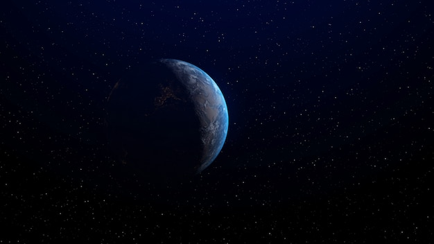 Earth with sunrise at horizon by 3d rendering.