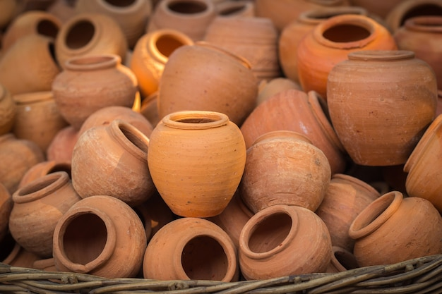 Earthenware handmade old clay pots in bangkok, thailand