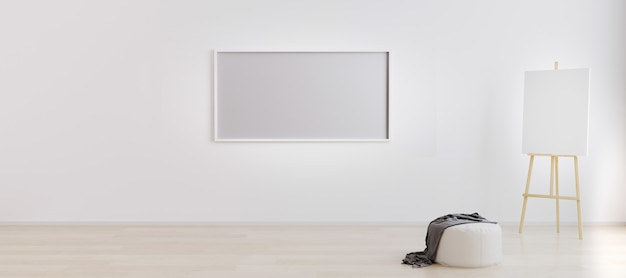 Easel with canvas in bright white room with blank horizontal frame for . artist workspace . empty bright room with empty frame for . room with white wall and wooden floor. 3d rendering