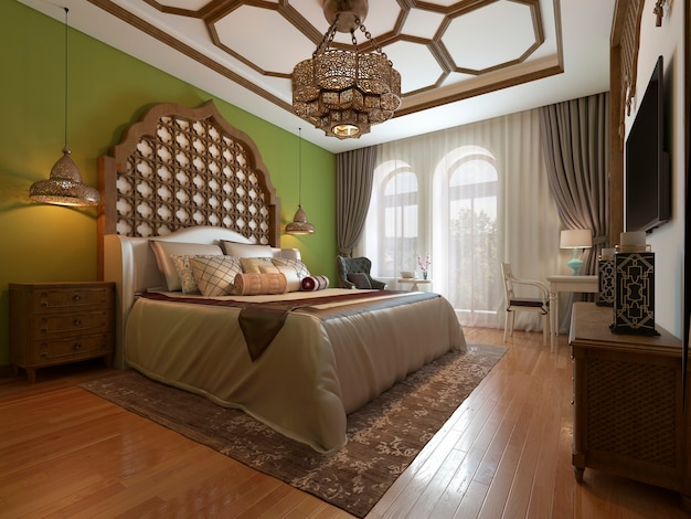 East bedroom in arab style, wooden headboard and green walls. tv unit, dressing table, armchair with coffee table.