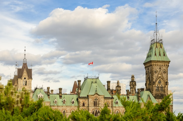 East block building of the parliament hill in ottawa, canada