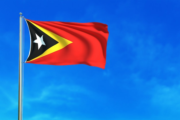 East timor flag on the blue sky background 3d rendering