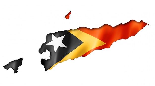 East timor flag map