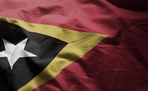 East timor flag rumpled close up