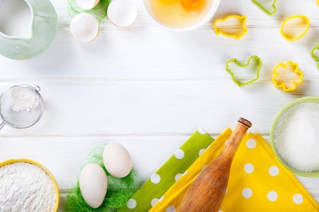 Easter background of baking ingredients
