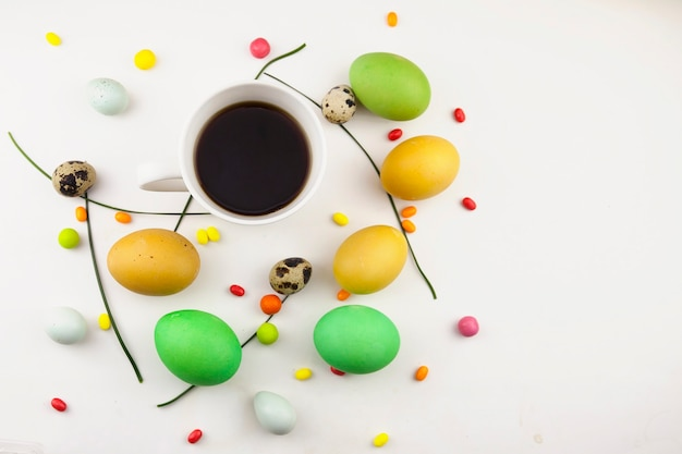 Easter background, colorful easter eggs and decorations on a light background