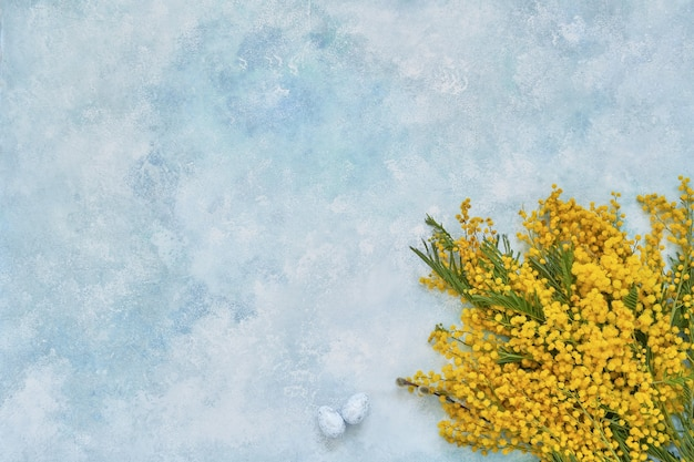 Easter background. mimosa flowers and easter decorationon blue background. copy space, top view.