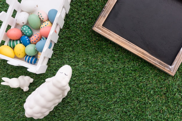 Easter background with blank slate
