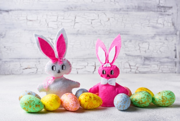Easter background with handmade bunny