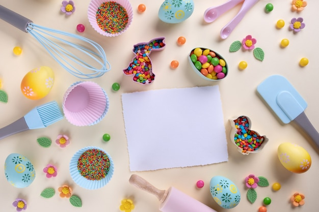 Easter baking and cooking utensils. flat lay top view, mockup for recipe