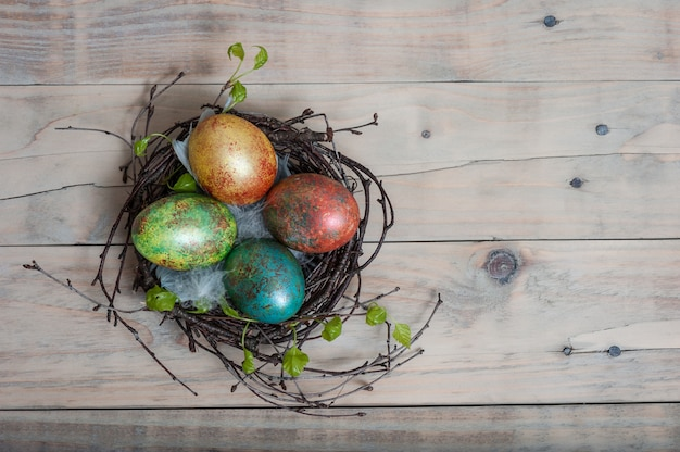 Easter birch nest with hand painted easter eggs