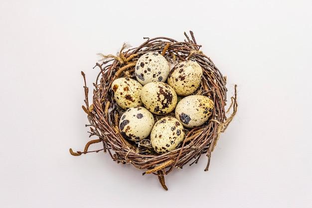ウズラの卵が白い背景で隔離のイースターの鳥の巣。廃棄物ゼロ、diyコンセプト