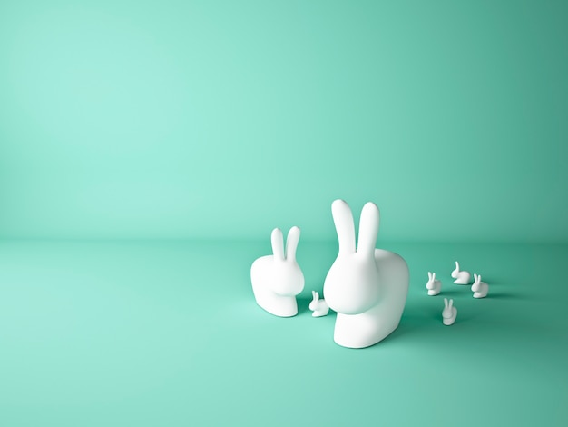 Easter bunnies with mint background
