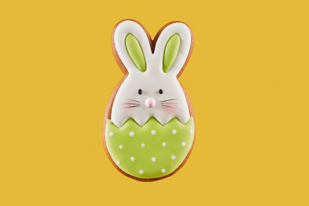 Easter bunny cookie covered with green and white glaze