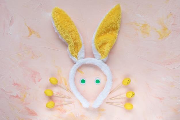 부활절 토끼 귀와 손가락 음식 스틱 핑크
