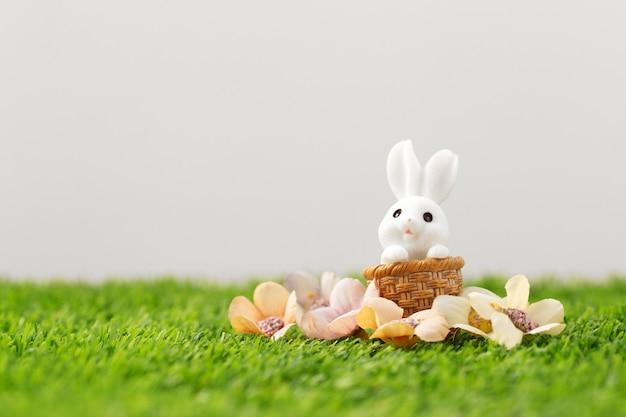 Coniglietto di pasqua sull'erba